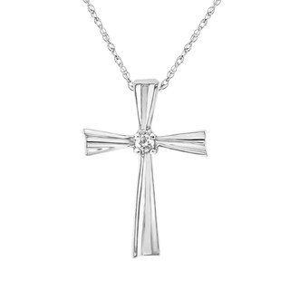 10K White Gold 1/20 CT. TW. Classic Diamond Cross
