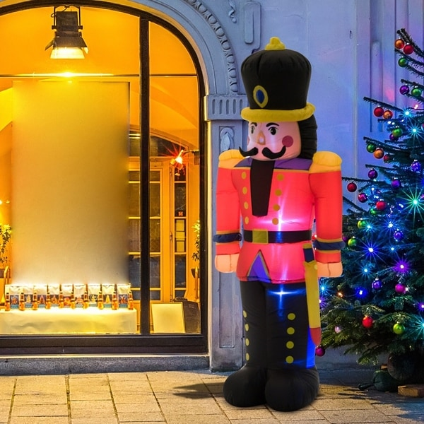 6' Tall Nutcracker Toy Soldier Outdoor Lighted Inflatable Holiday Lawn Decoration. Opens flyout.