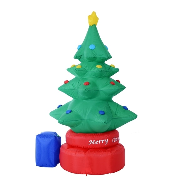 homcom 7 ft tall outdoor animated airblown inflatable christmas lawn decoration rotating christmas tree - Lighted Christmas Tree Lawn Decoration