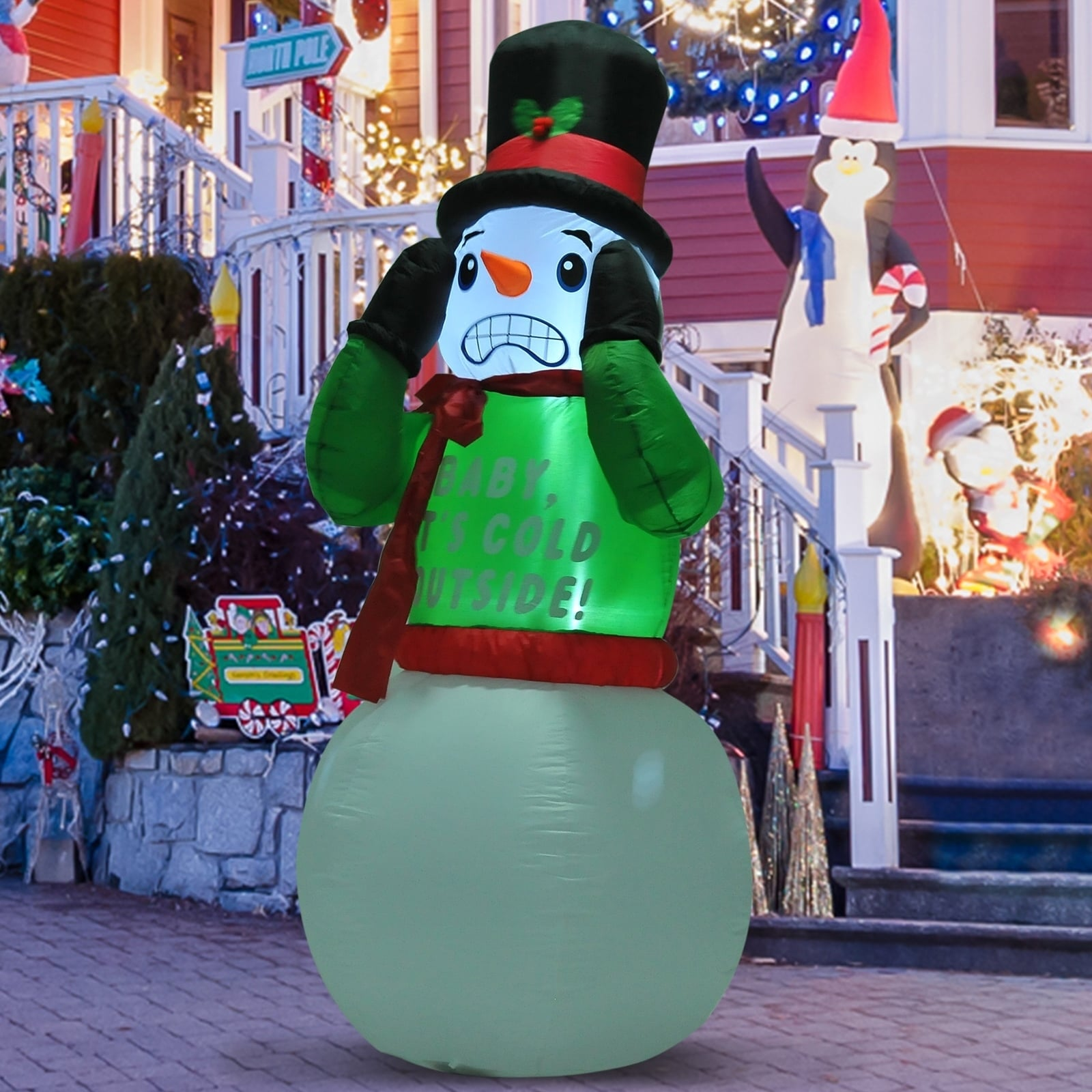 Airblown Inflatable Christmas Outdoor Lighted Yard Decoration Shivering Snowman 7 Tall Overstock 18072685
