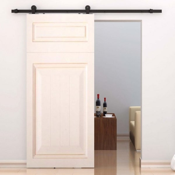 Homcom modern 6 interior sliding barn door kit hardware set black homcom modern 6x27 interior sliding barn door kit hardware set black carbon planetlyrics Images