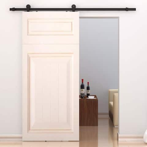 HomCom Modern 6' Interior Sliding Barn Door Kit Hardware Set - Black Carbon Steel
