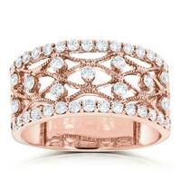 Annello by Kobelli 10k Rose Gold 3/5ct TDW Wide Lacework Filigree Diamond Anniversary Ring