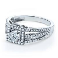 Annello by Kobelli 14k White Gold 1/2ct TDW Diamond Princess Halo Split Band Engagement Ring