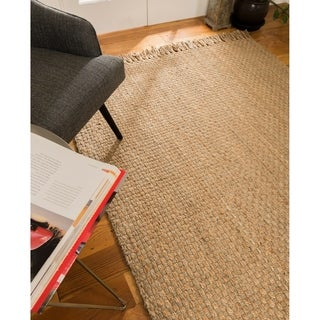 Natural Area Rugs Corolla Beige Jute Basket Weave Area Rug (6' x 9')