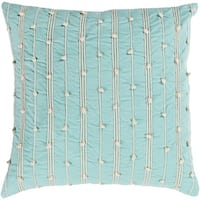 Raya Coastal Striped Mint Throw Pillow Down and Poly Filled 22 inch