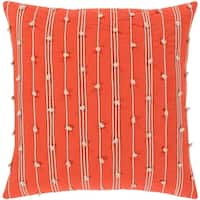 Raya Coastal Striped Orange Feather Down or Poly Filled Throw Pillow 18-inch