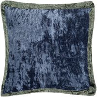 Alphege Velvet Reversible Navy Feather Down or Poly Filled Throw Pillow 20-inch