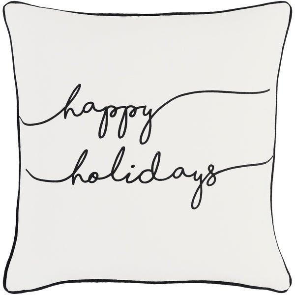 Ferias Holiday White Feather Down or Poly Filled Throw Pillow 18-inch