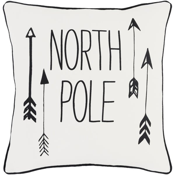 Aquilonem North Pole Holiday WhiteDown or Poly Filled Throw Pillow 18-inch