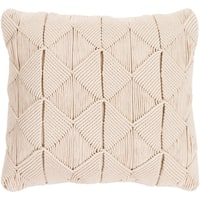 Emilija Macrame Cream Feather Down or Poly Filled Throw Pillow 20-inch