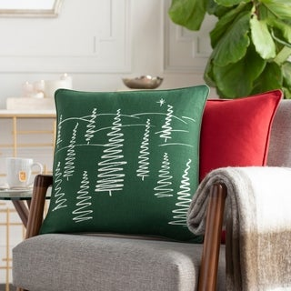 Arbores Holiday Green Down or Poly 18-inch Throw Pillow