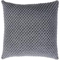 Kennet Crochet Slate Feather Down or Poly Filled Throw Pillow 22-inch