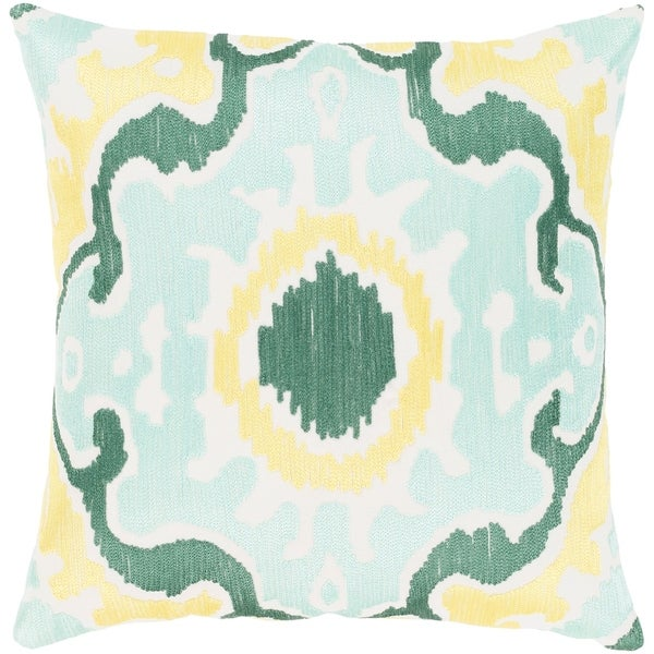 Kaelea Modern Ikat Mint Feather Down or Poly Filled Throw Pillow 22-inch