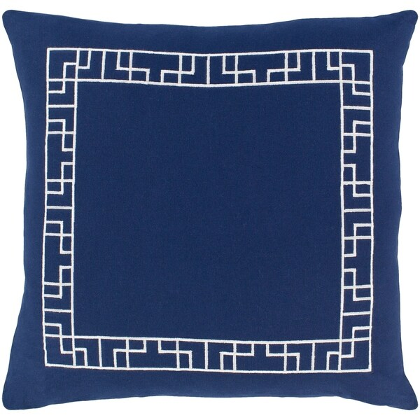 Hale Geometric Border Navy Feather Down or Poly Filled Throw Pillow 18-inch