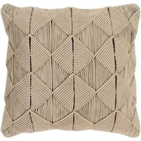 Emilija Macrame Sage Feather Down or Poly Filled Throw Pillow 22-inch