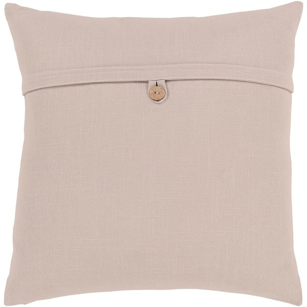 Demetra Traditional Button Taupe Feather Down or Poly Filled Throw Pillow 18-inch