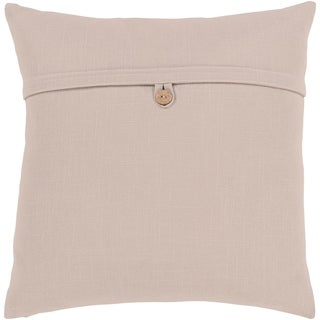 Demetra Traditional Button Taupe Feather Down or Poly Filled Throw Pillow 20-inch