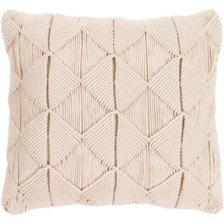 Emilija Macrame Cream Feather Down or Poly Filled Throw Pillow 22-inch