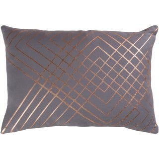 Stelara Metallic Medium Gray Feather Down or Poly Filled Throw Pillow 13 inch x 19 inch
