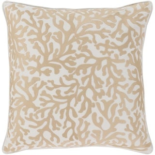 Lynna Coastal Khaki Feather Down or Poly Filled Throw Pillow 22-inch