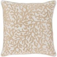 Lynna Coastal Khaki Feather Down or Poly Filled Throw Pillow 22-inch