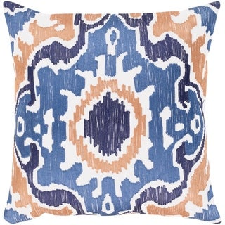 Kaelea Modern Ikat Denim Feather Down or Poly Filled Throw Pillow 18-inch