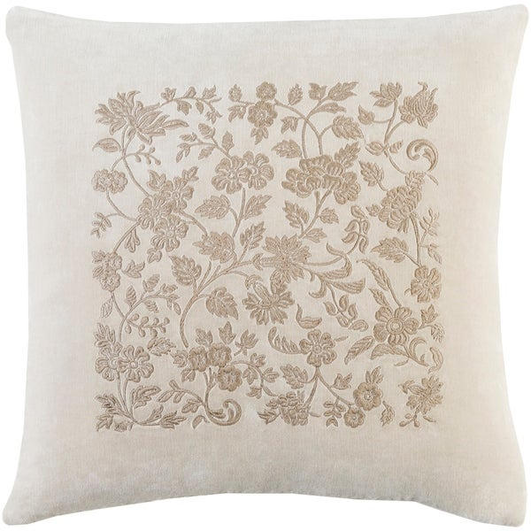 Samaro Traditional Floral Khaki Feather Down or Poly Filled Throw Pillow 18-inch
