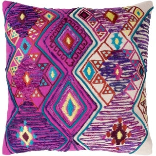 Hasan Traditional Bright Purple Feather Down or Poly Filled Throw Pillow 22-inch