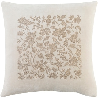 Samaro Traditional Floral Khaki Down or Poly Filled Throw Pillow 22 inch