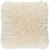 Callistus Shag Cream Feather Down or Poly Filled Throw Pillow 18-inch