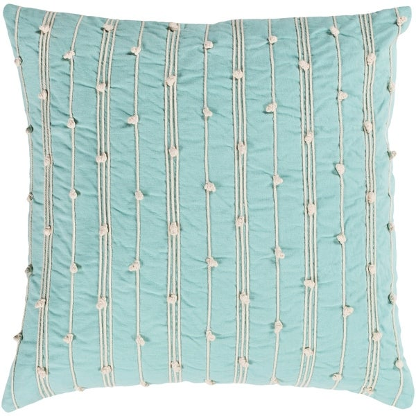 Raya Coastal Striped Mint Throw Pillow Feather Down and Poly Filled 20-inch