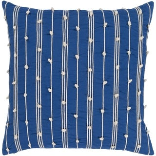 Raya Coastal Striped Dark Blue Feather Down or Poly Filled Throw Pillow 22-inch