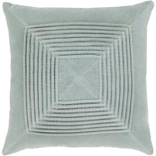 Quadratum Ice Blue Velvet Down or Poly Filled 18-inch Pillow