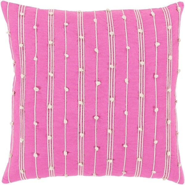 Raya Coastal Striped Bright Pink Feather Down or Poly Filled Throw Pillow 18-inch