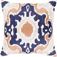 Kaelea Modern Ikat Navy Feather Down or Poly Filled Throw Pillow 22-inch