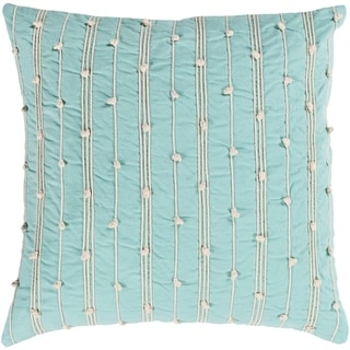Raya Coastal Striped Mint Throw Pillow Feather Down and Poly Filled 18-inch