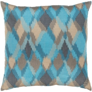 Jourdain Modern Reversible Aqua Feather Down or Poly Filled Throw Pillow 20-inch