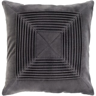 Quadratum Velvet Charcoal Feather Down or Poly Filled Throw Pillow 18-inch