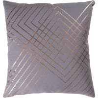 Stelara Metallic Modern Medium Gray Feather Down or Poly Filled Throw Pillow 20-inch