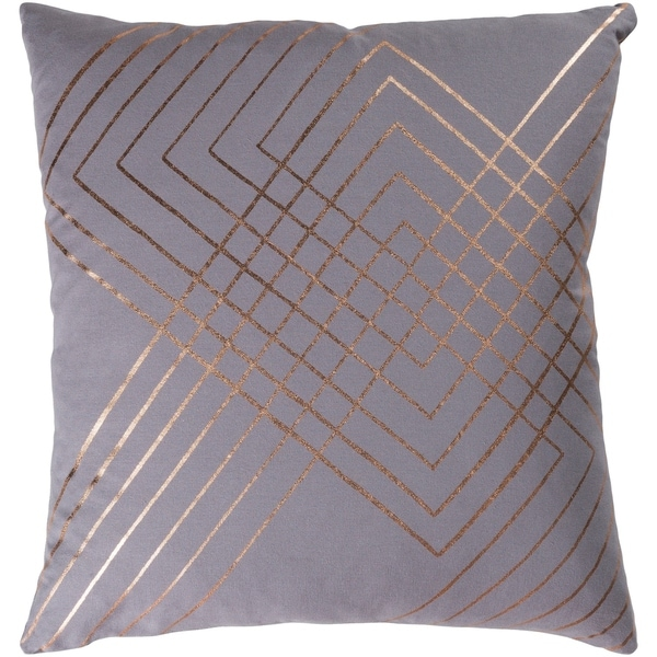 Stelara Metallic Modern Medium Gray Feather Down or Poly Filled Throw Pillow 20-inch