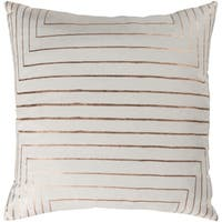 Seoras Metallic Modern Cream Feather Down or Poly Filled Throw Pillow 20-inch