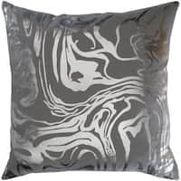 Tadeu Metallic Modern Medium Gray Feather Down or Poly Filled Throw Pillow 18-inch