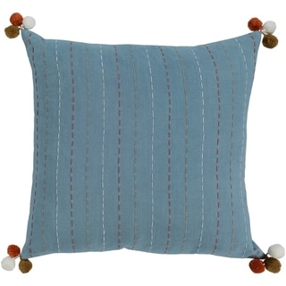 Viriato Striped Denim Feather Down or Poly Filled Throw Pillow 18-inch