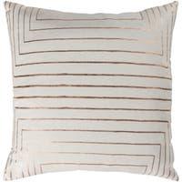 Seoras Metallic Modern Cream Feather Down or Poly Filled Throw Pillow 22-inch