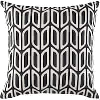 Dalia Modern Geometric Black Feather Down or Poly Filled Throw Pillow 18-inch
