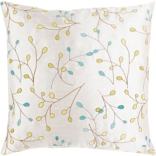 Sofiya Modern Floral White Feather Down or Poly Filled Throw Pillow 18-inch