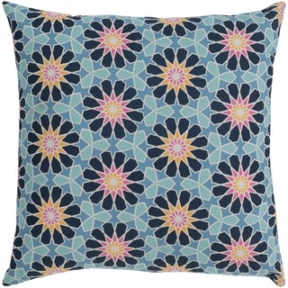 Isaija Medallion Denim Feather Down or Poly Filled Throw Pillow 20-inch