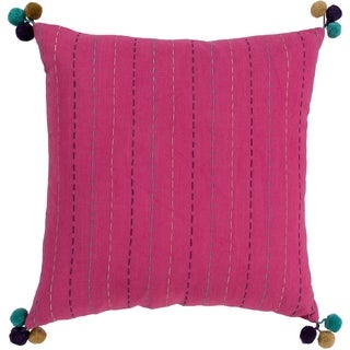 Viriato Striped Bright Pink Feather Down or Poly Filled Throw Pillow 18-inch