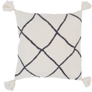 Pulvinar Cream Bohemian Tassel Feather Down or Poly Filled  20-inch Pillow